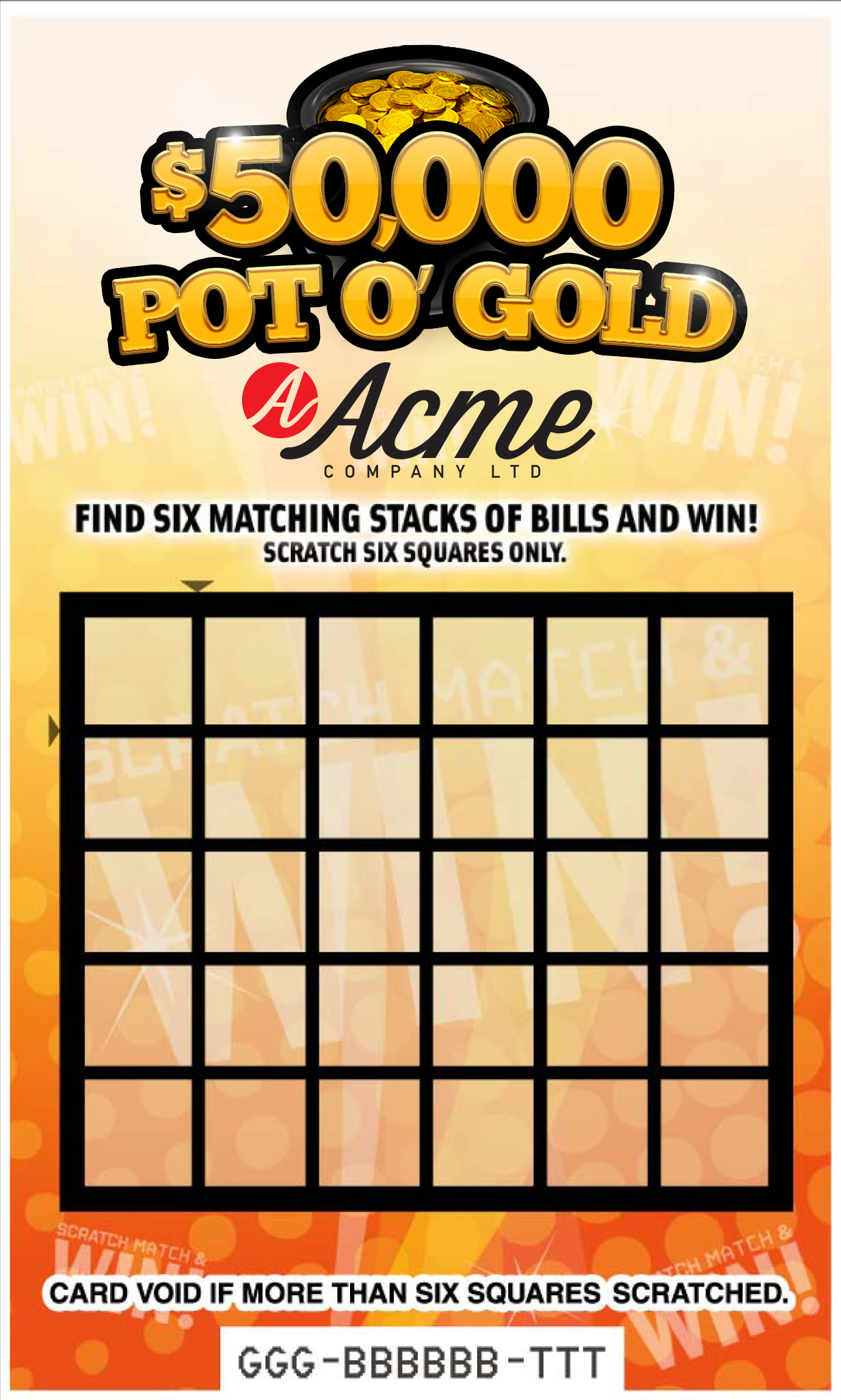 Pot O' Gold Customizable Scratch & Win Card