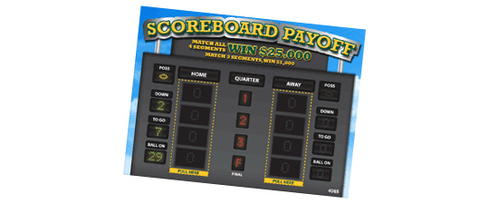 Scoreboard Payoff Pull Tab Contest