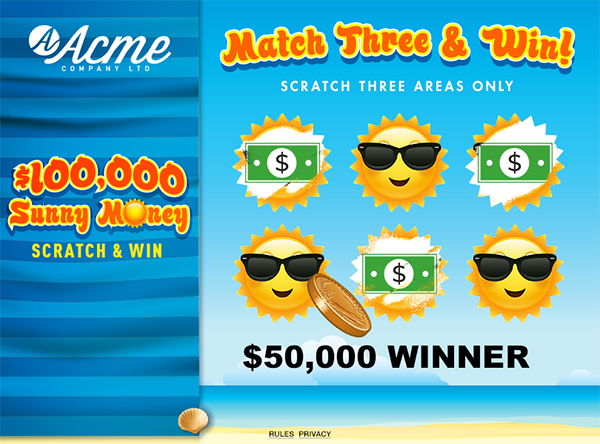 Sunny Money Scratch and Win Game
