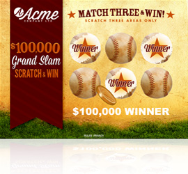 Grand Slam Scratch & Win Game