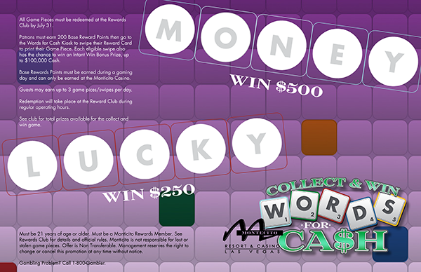 Words for Cash Collect & Win Game