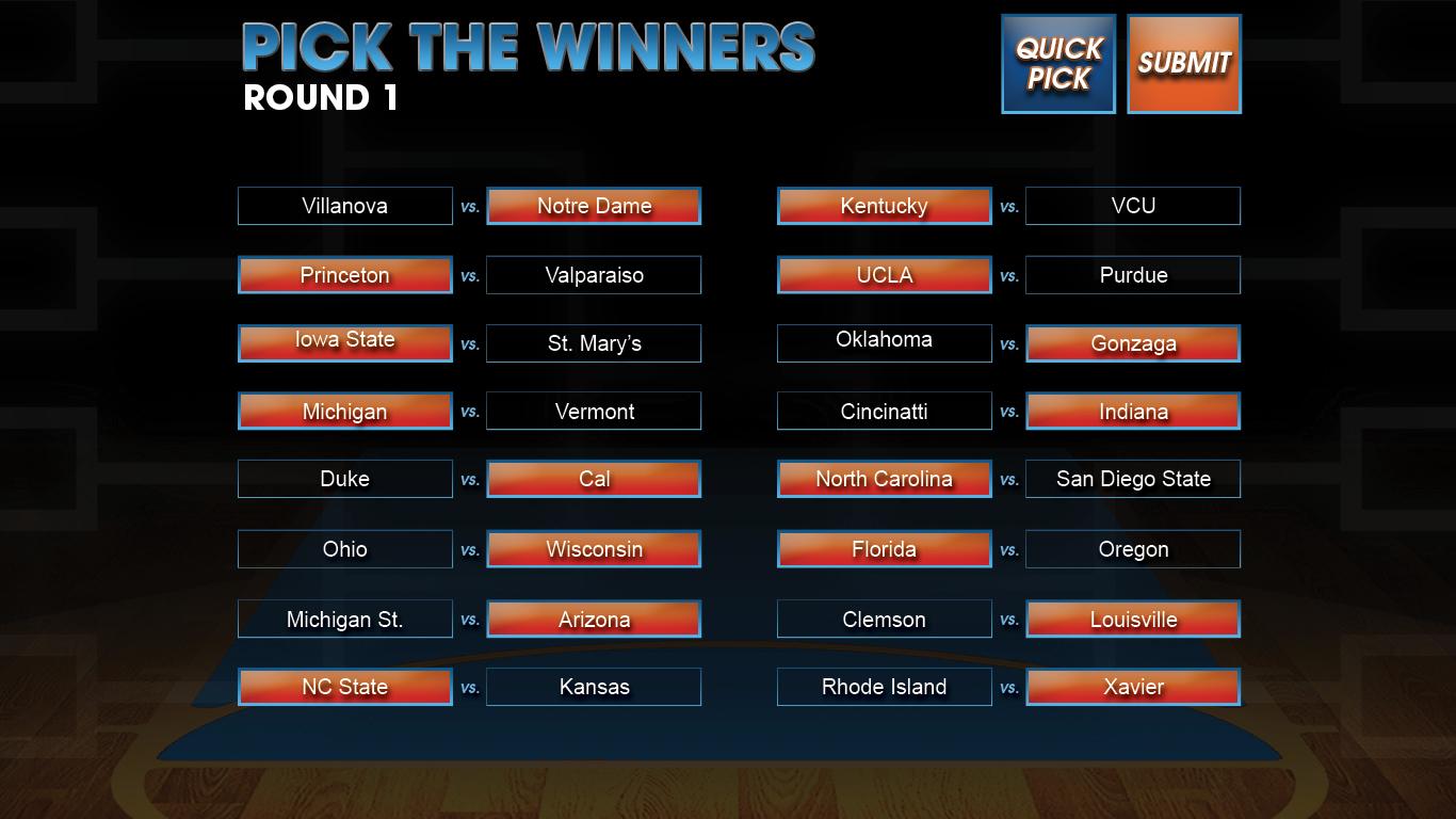 Bracket Challenge Challenge Screen